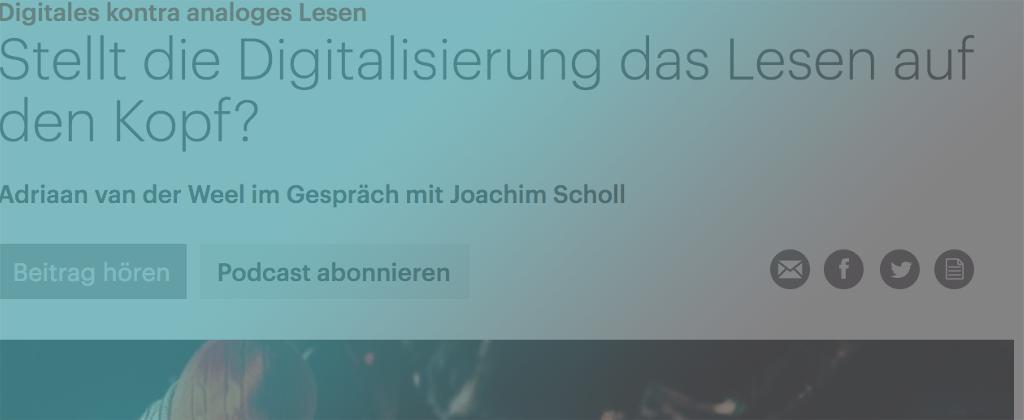 E-READ media coverage on deutschlandfunkkultur.de