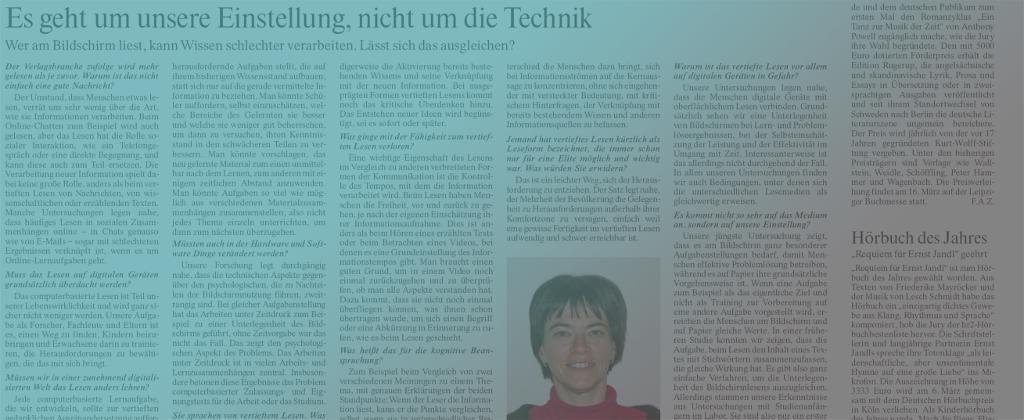 E-READ member Rakefet Ackerman in FRANKFURTER ALLGEMEINE ZEITUNG